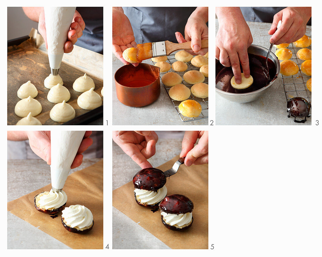 Chocolate and cream profiteroles being constructed