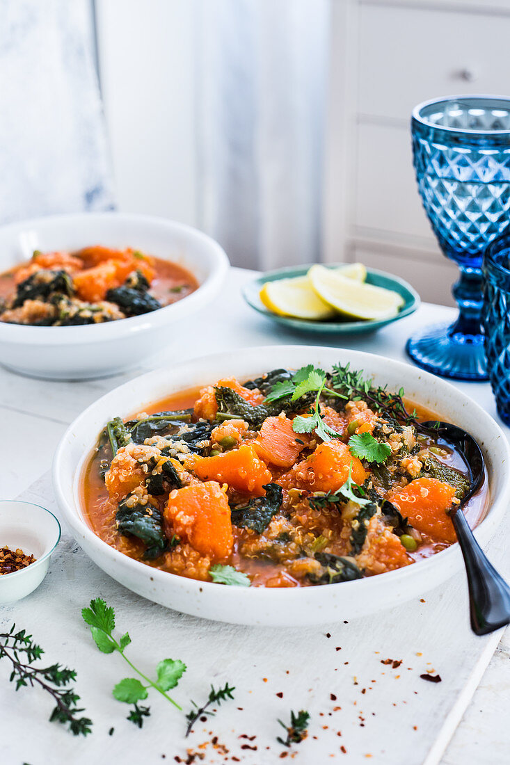 Kale and pumpkin quinoa stew