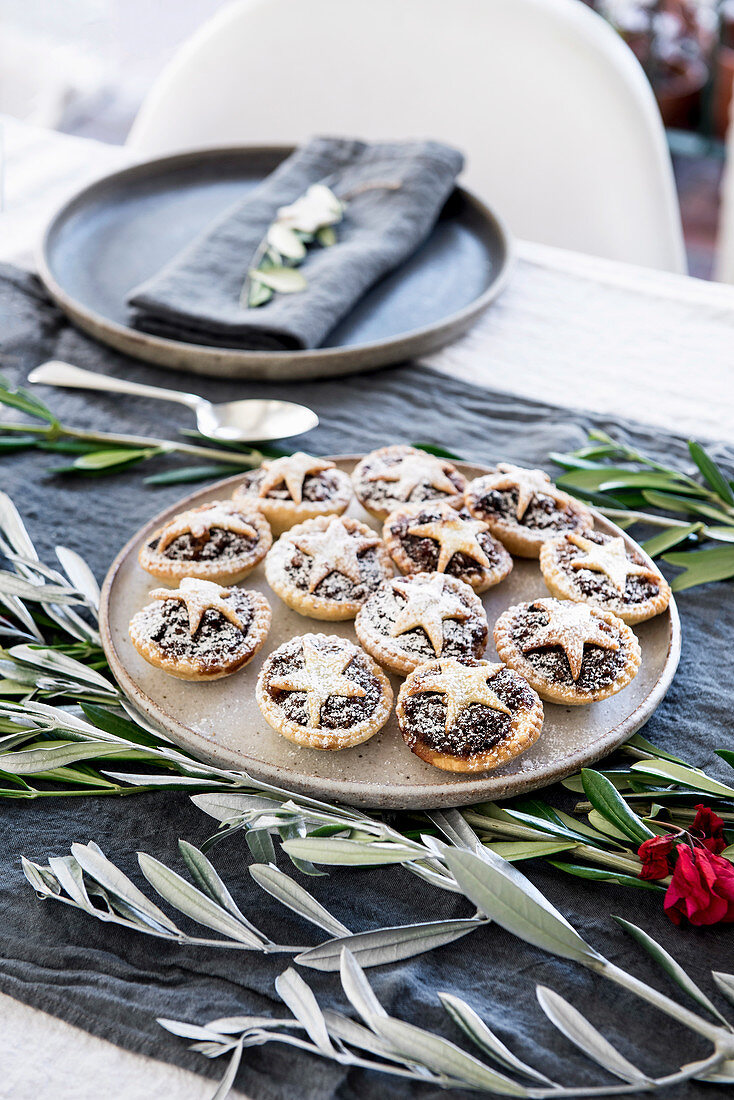 Mince pies on a festive table