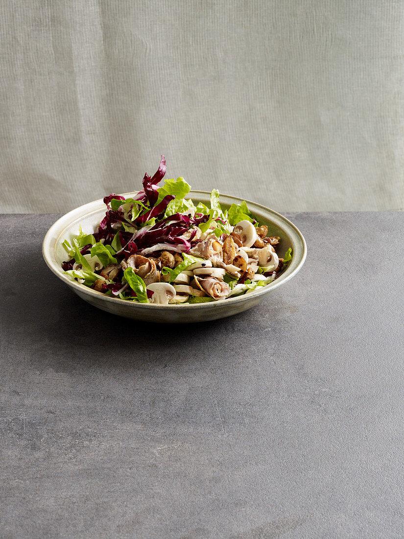 Radicchio and mushroom salad with chestnuts