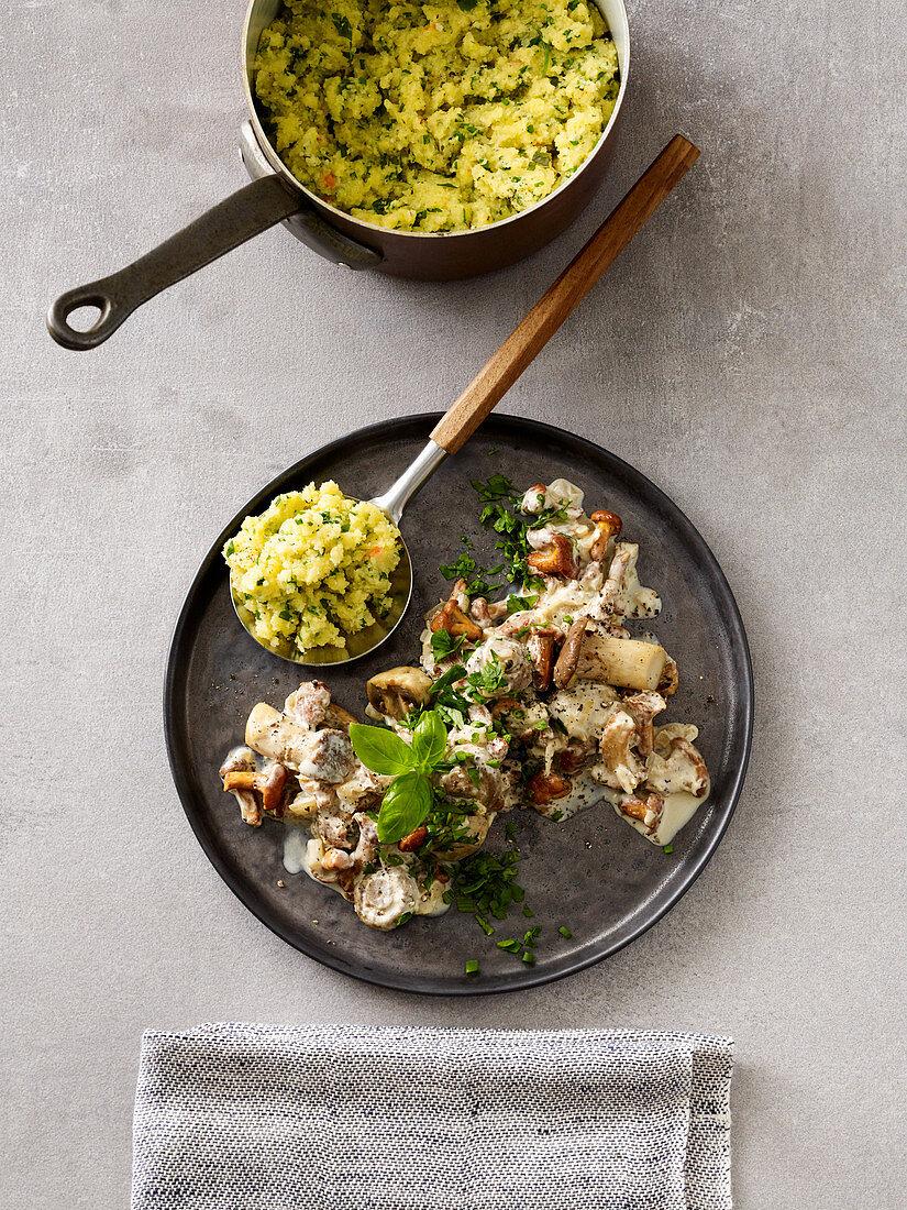 Herb polenta with a mushroom ragout