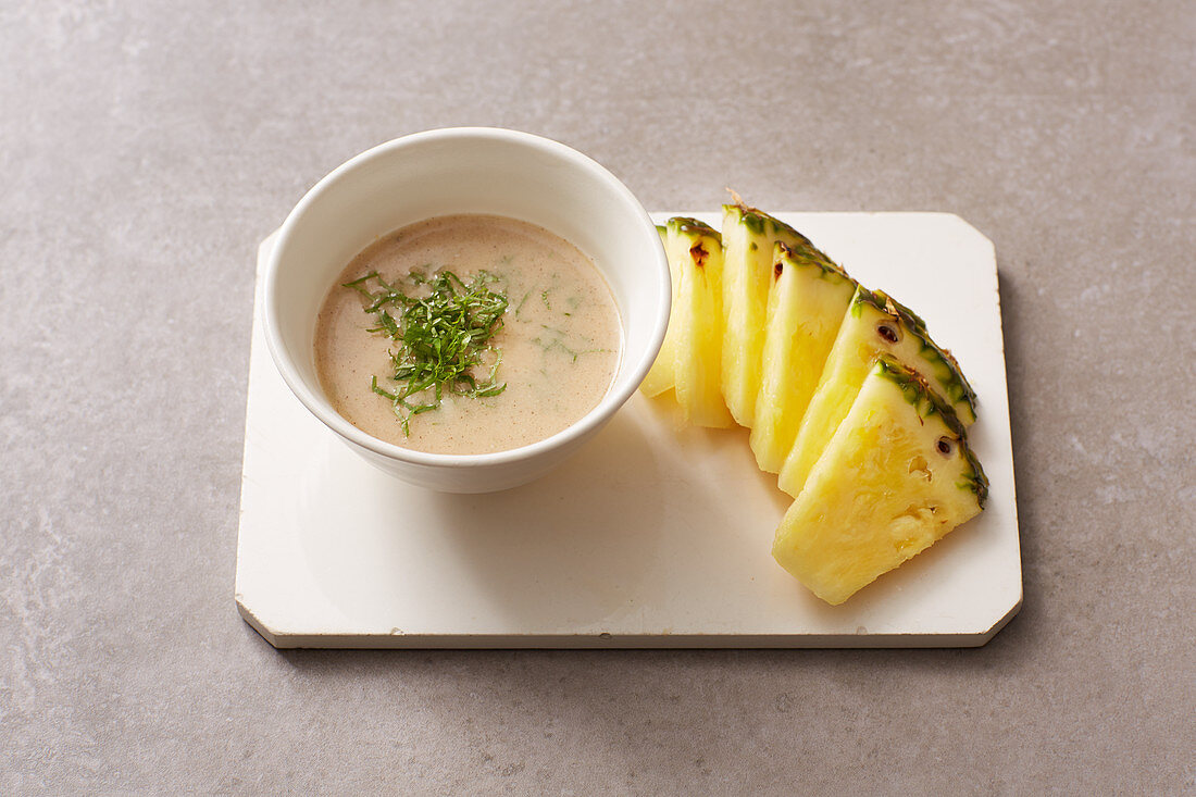 Coconut and passion fruit dressing with pineapple