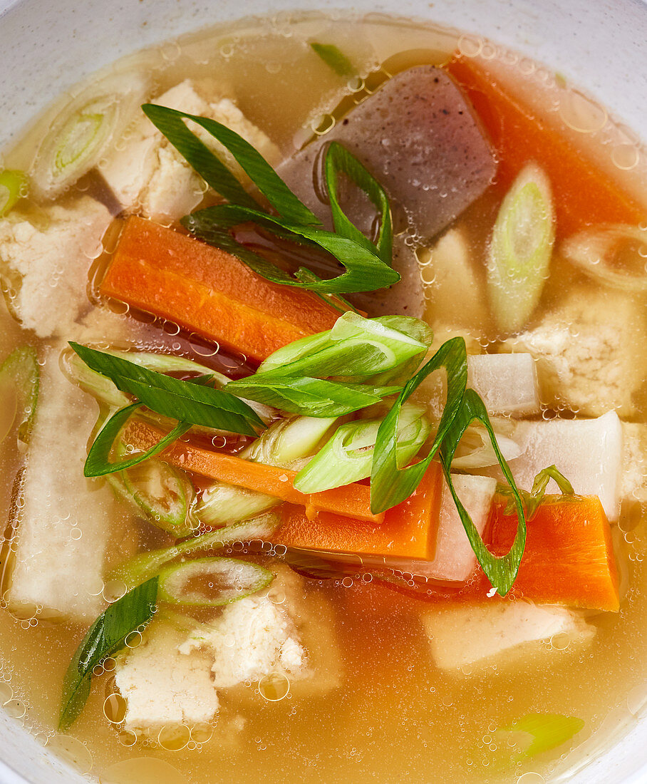 Japanese dashi stock with konjac and vegetables