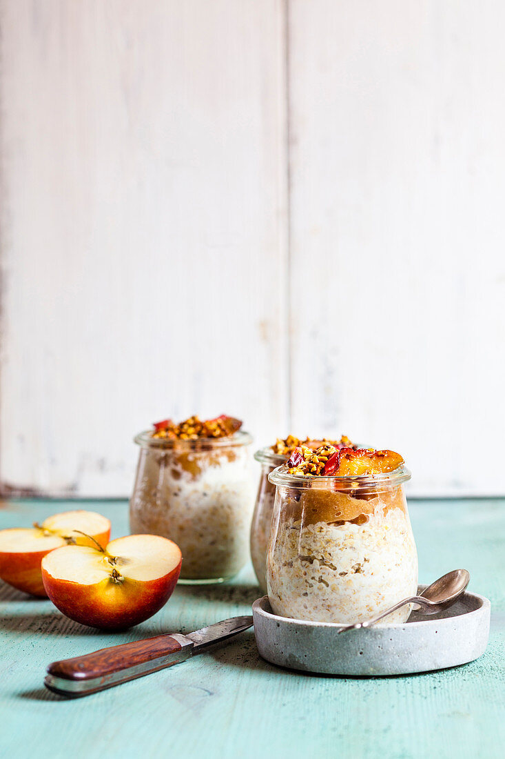 Baked apple overnight oats with nut brittle