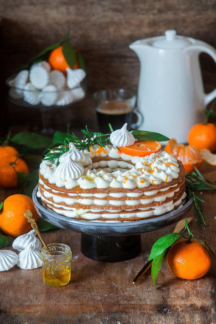 Layer honey cake with tangerines