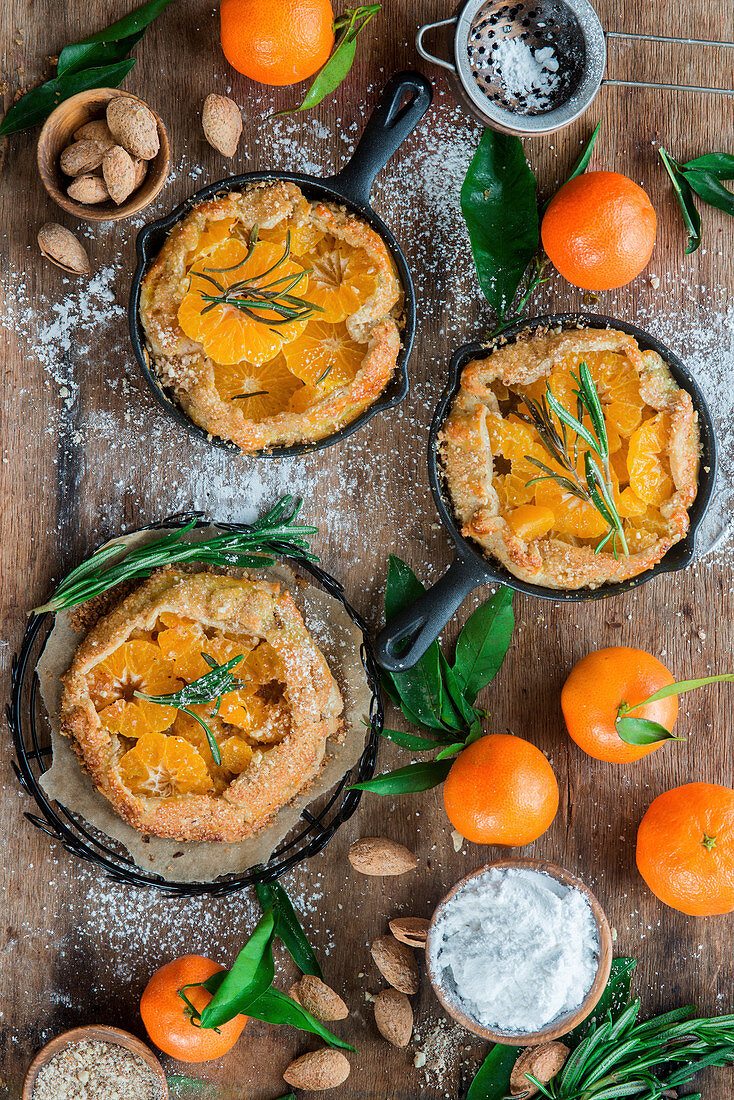 Tangerine almond pies from above