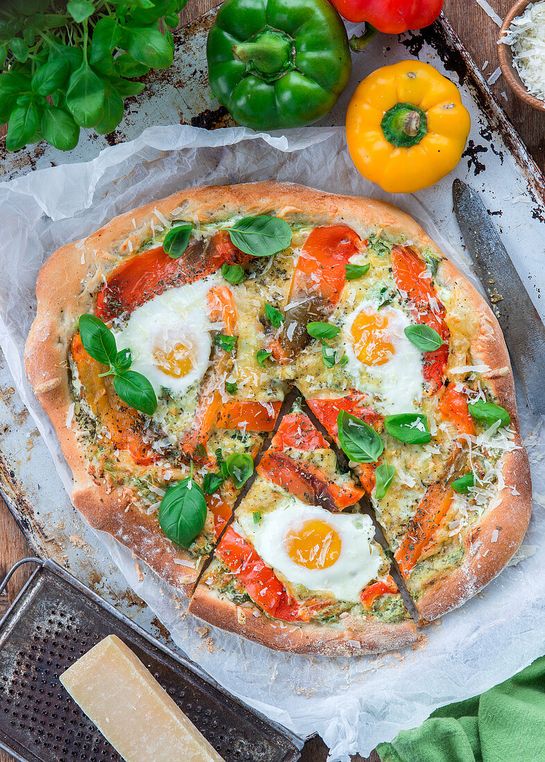 Pizza with pepper and eggs