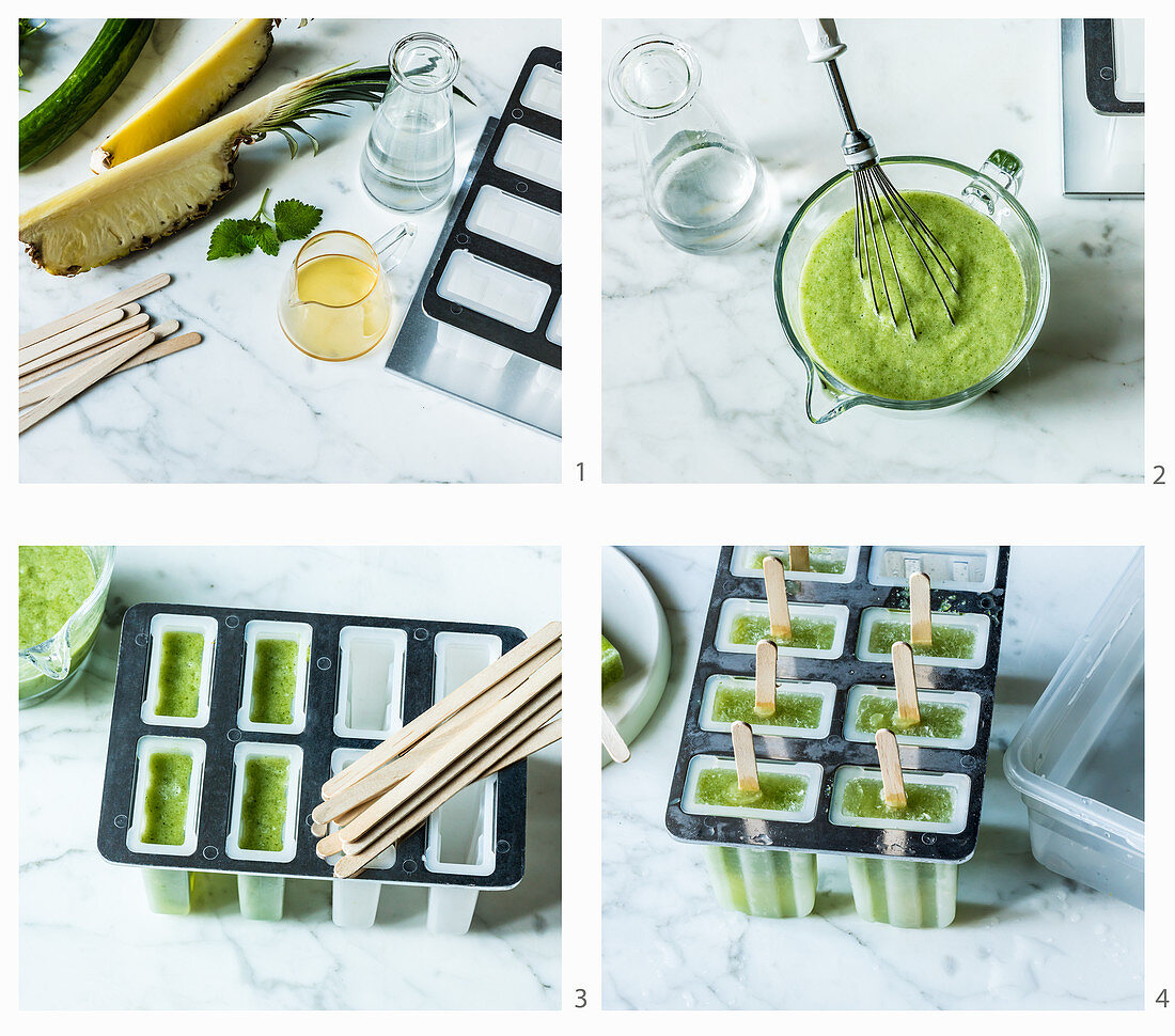 Cucumber and pineapple ice lollies being made