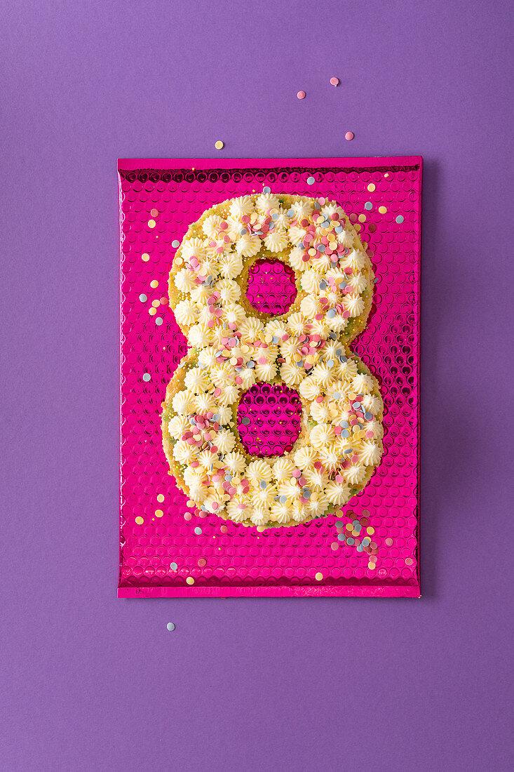 A confetti cake for an 8th birthday