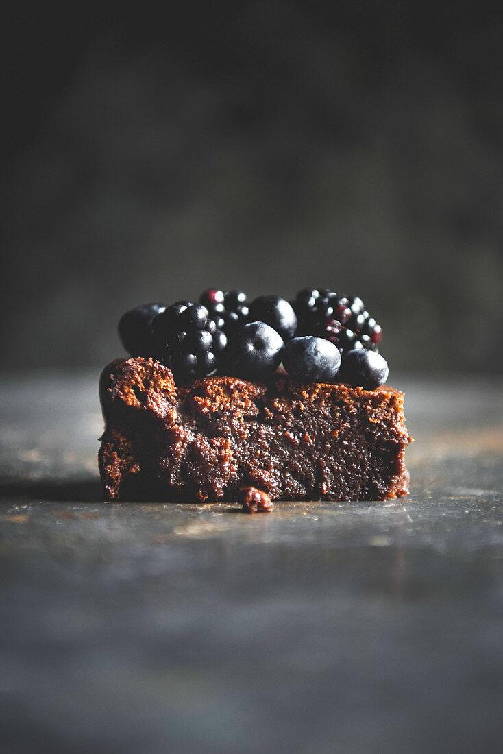 Flourless Chocolate Cake and Berries