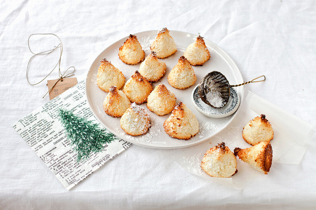 Cone shaped Christmas coconut cookies