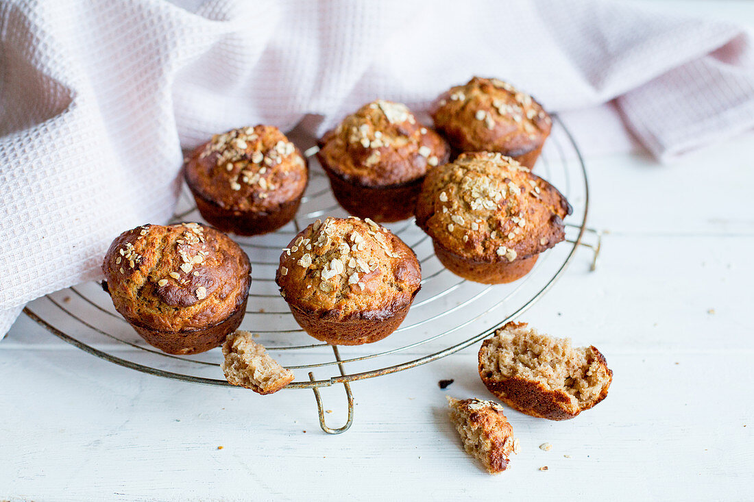 Oatmeal muffins on a cooling rack