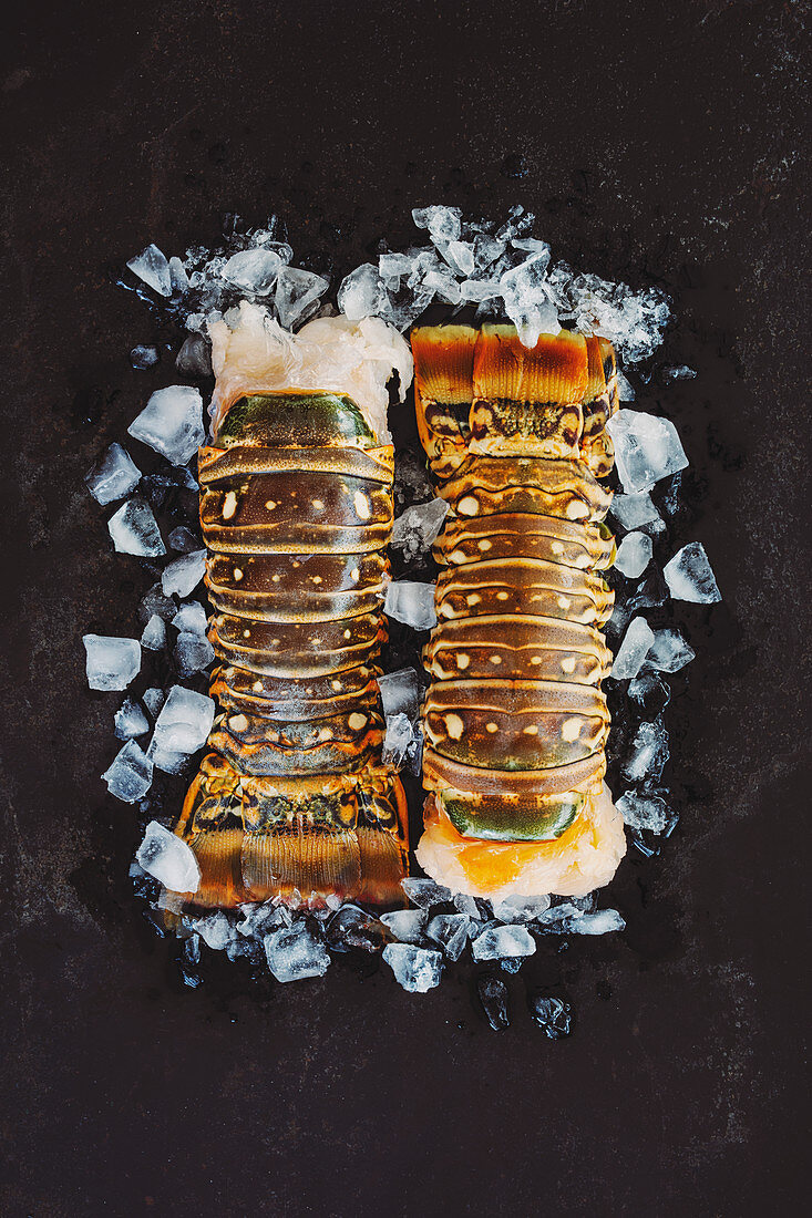 Lobster tails on ice