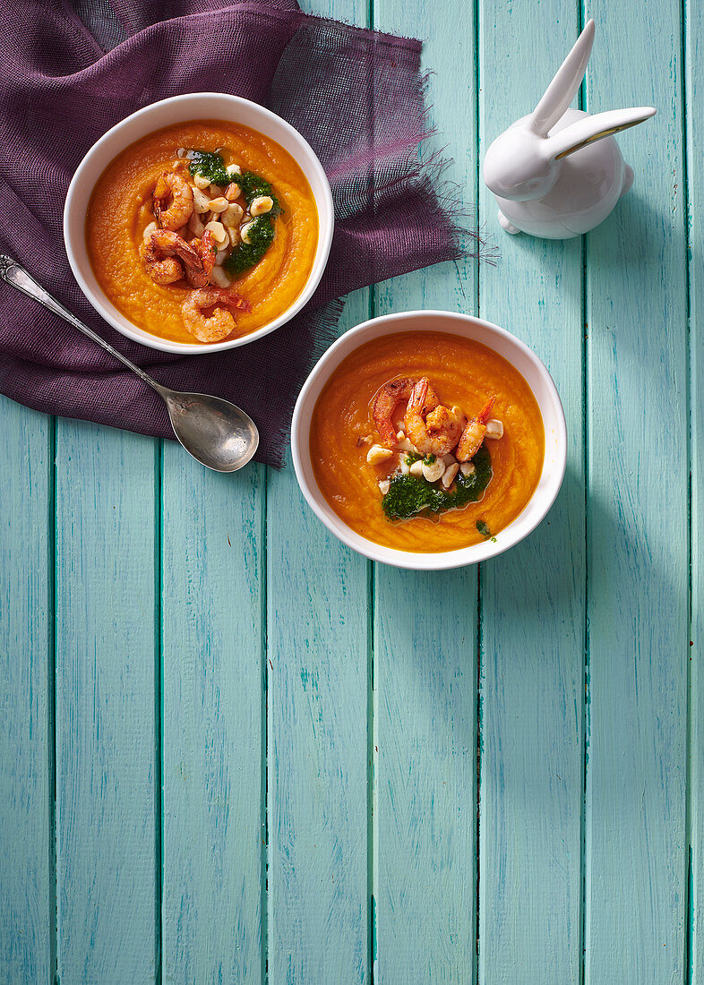 Carrot, parsnip, beer and ginger soup with spicy prawns
