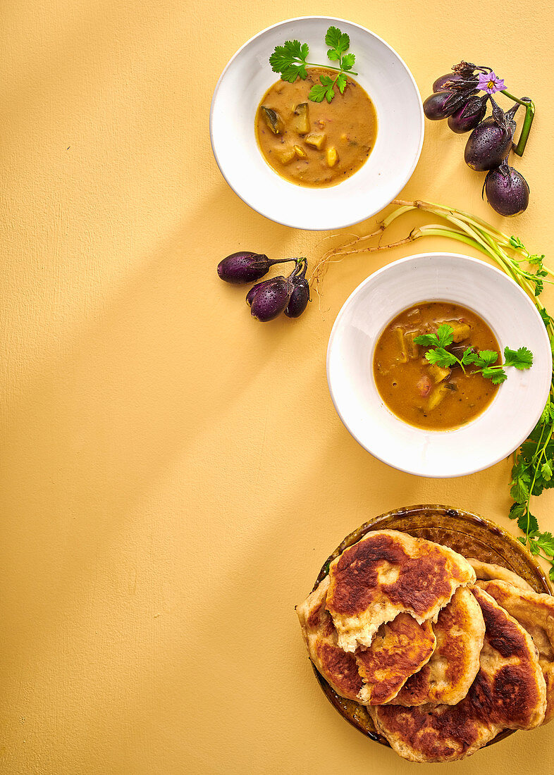 Aubergine dhal and naan bread
