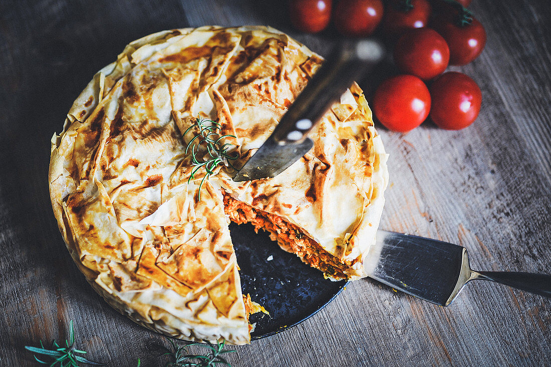 Filo pastry bake with chicken breast fillet and pumpkin