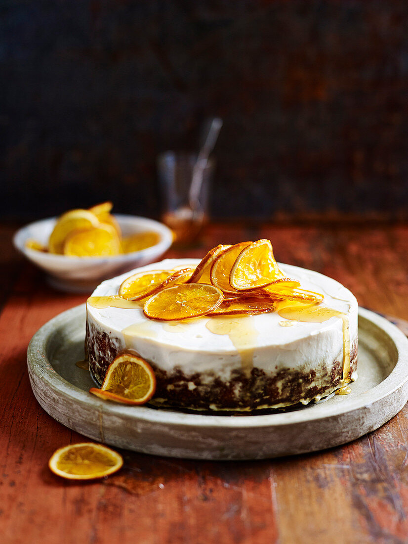 Sweet Potato Cake with Candied Orange Slices