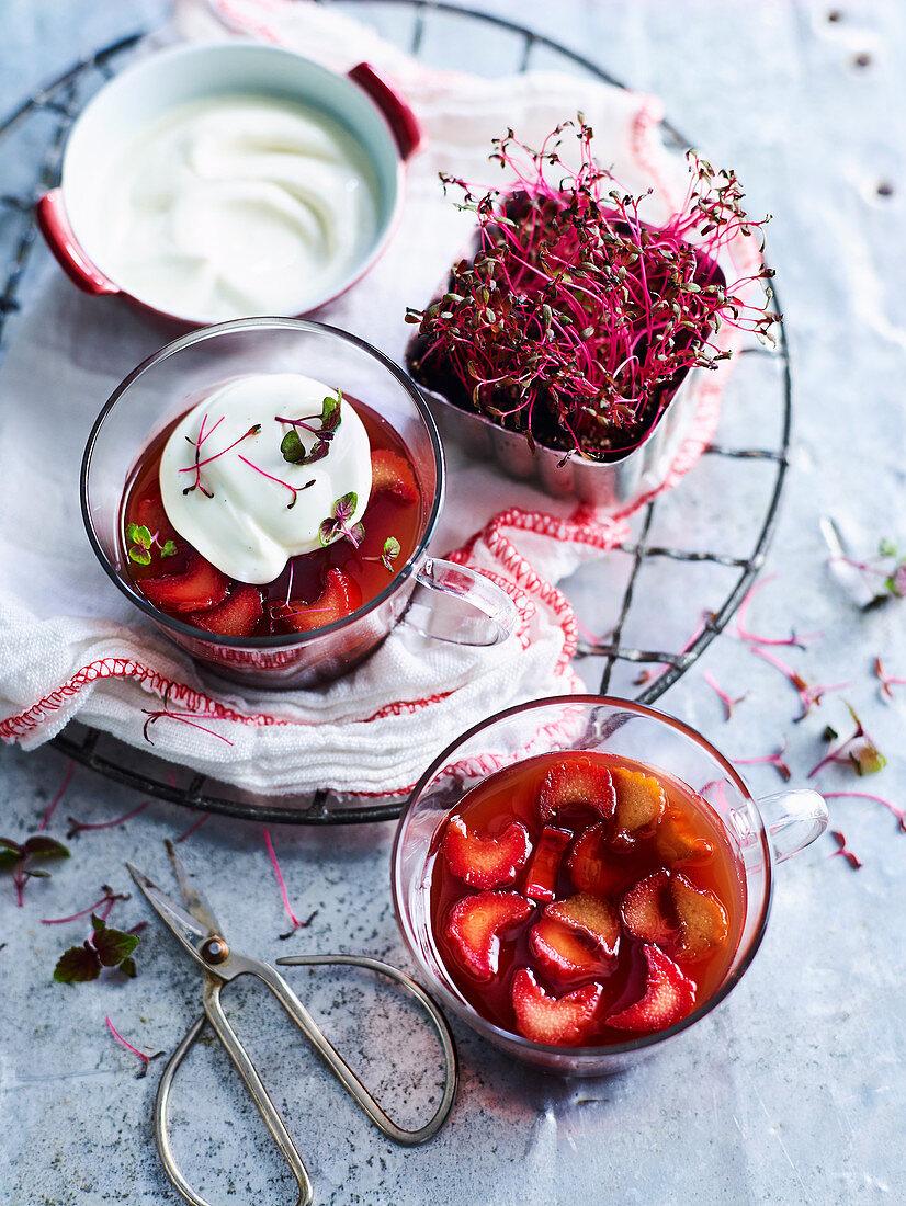 Soft-set Spiced Rhubarb Jellies with Vanilla Bean Yoghurt