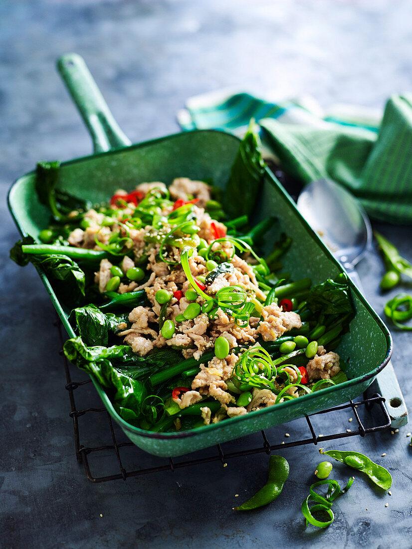 Miso Chicken and Stir-fried Greens