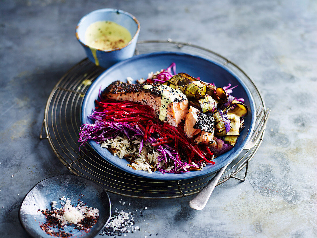 Purple Abundance Bowl with Crisp Skin Salmon and Tummeric Dressing