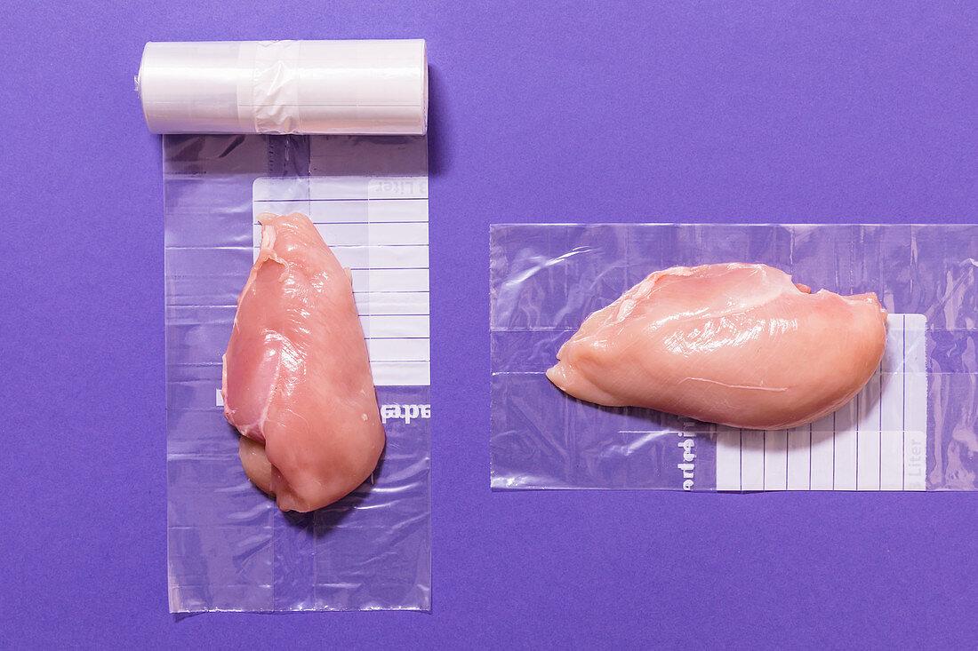 Chicken breast fillet being frozen