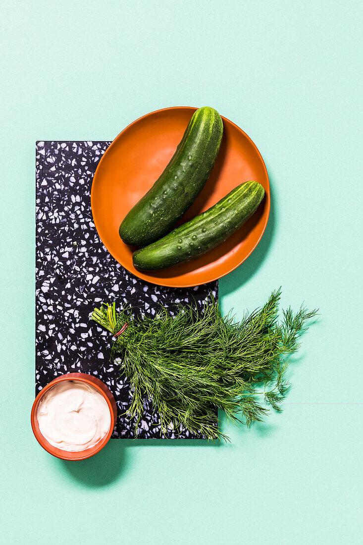Pickling cucumbers, dill and crème fraîche
