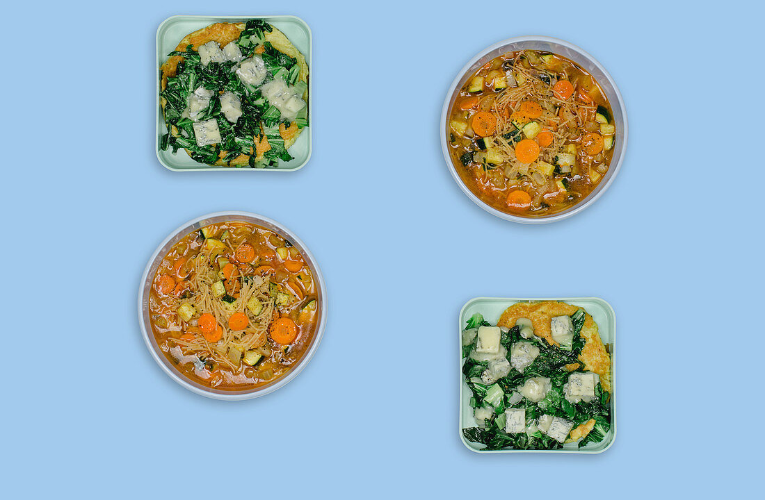 Minestrone and omelette with chard and gorgonzola
