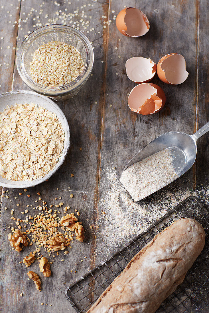 Ingredients for making a healthy breakfast
