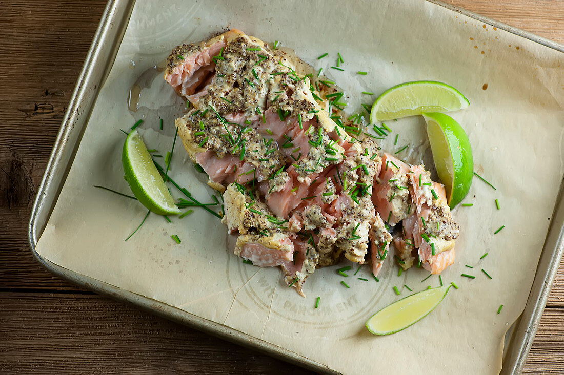 Roasted salmon with mustard and lime