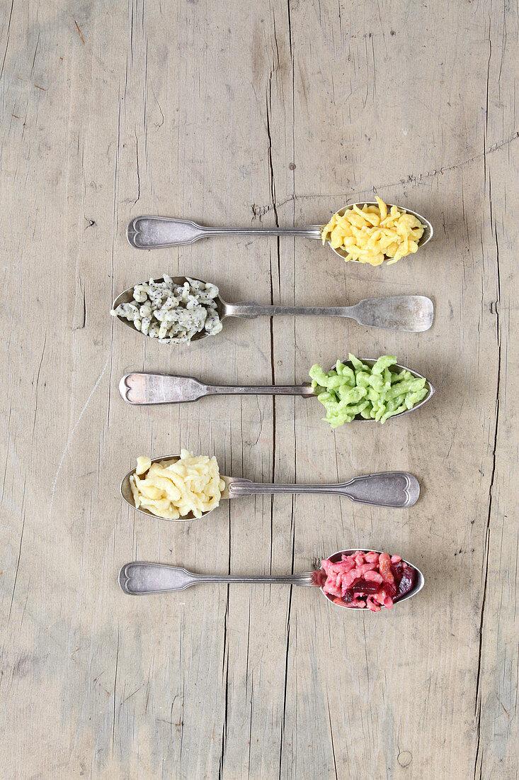 Various spaetzle on spoons