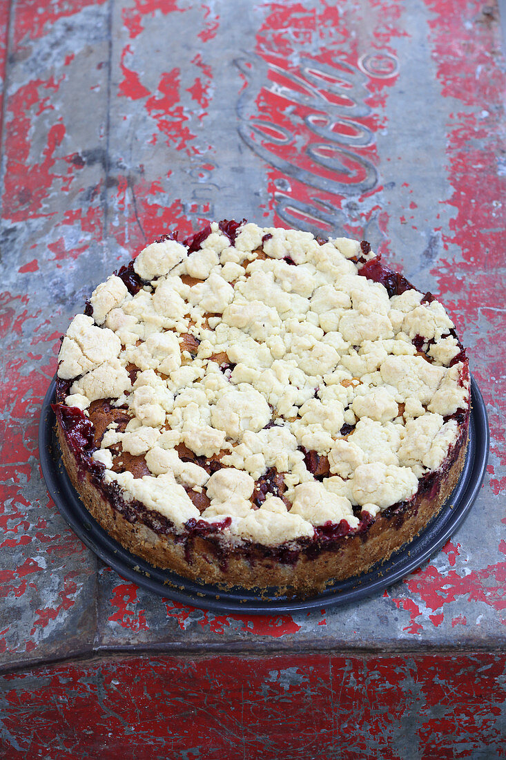 Damson cake with crumble topping