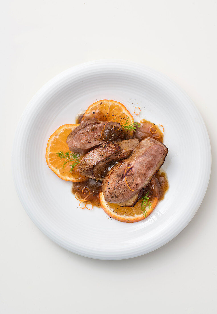 Duck breast with clementines