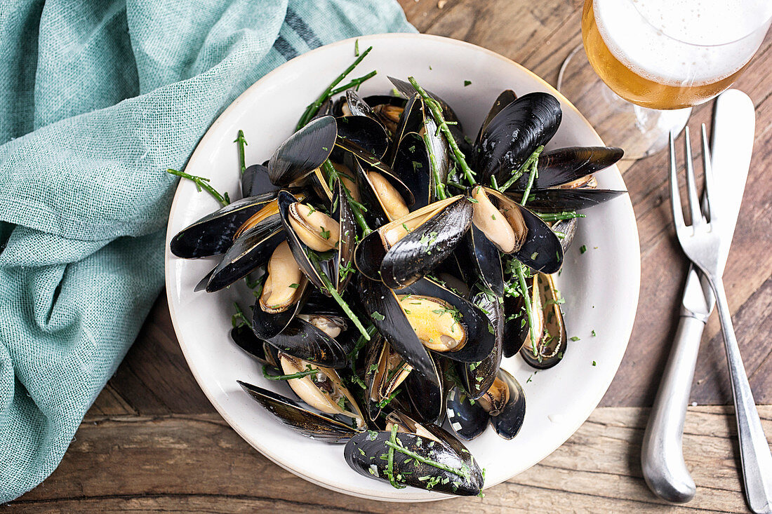 Bowl of Mussels with Samphire