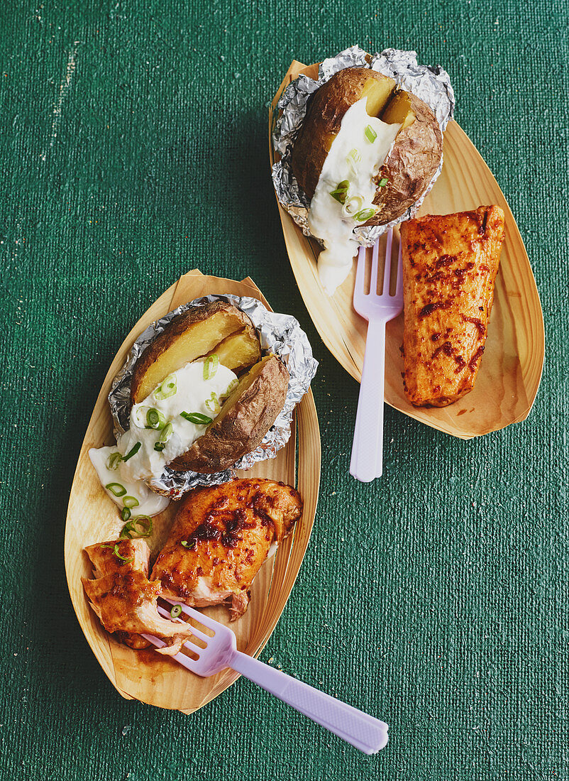 Grilled salmon with jacket potatoes
