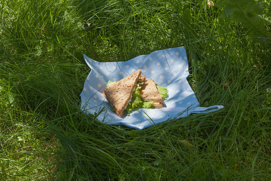 Sandwiches on hand-sewn napkin made from waxed cloth