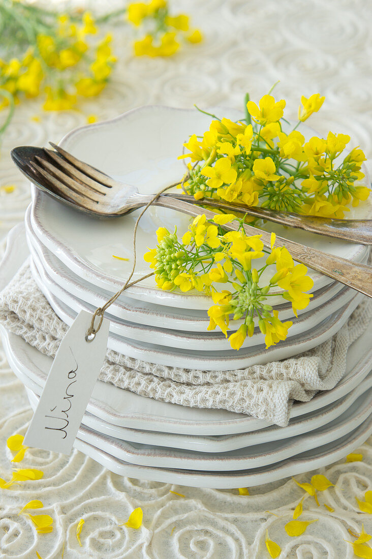 A stack of plates with a place setting and rape seed flowers