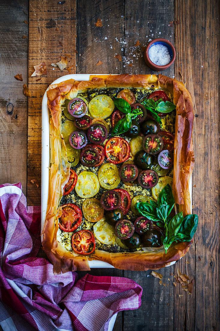 Heirloom tomatoe tart