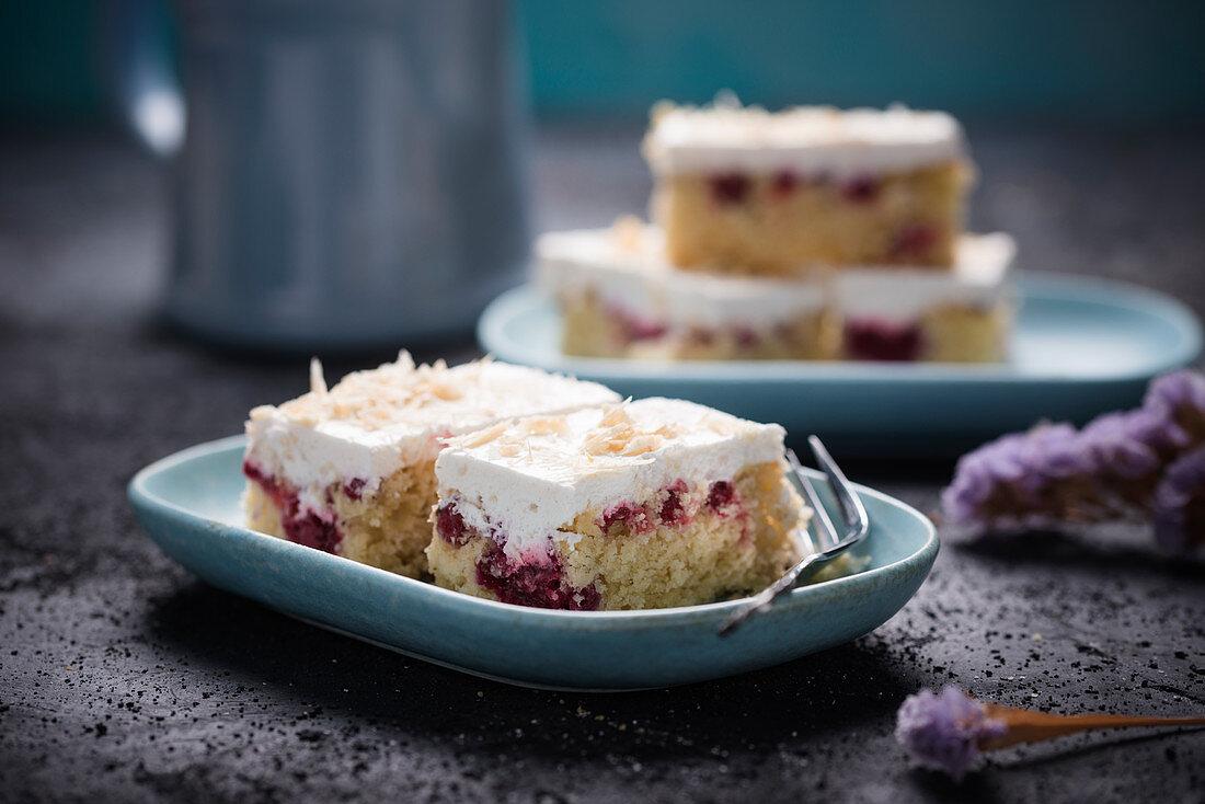 Vegan sponge cake with sour cherries and white rice milk chocolate cream