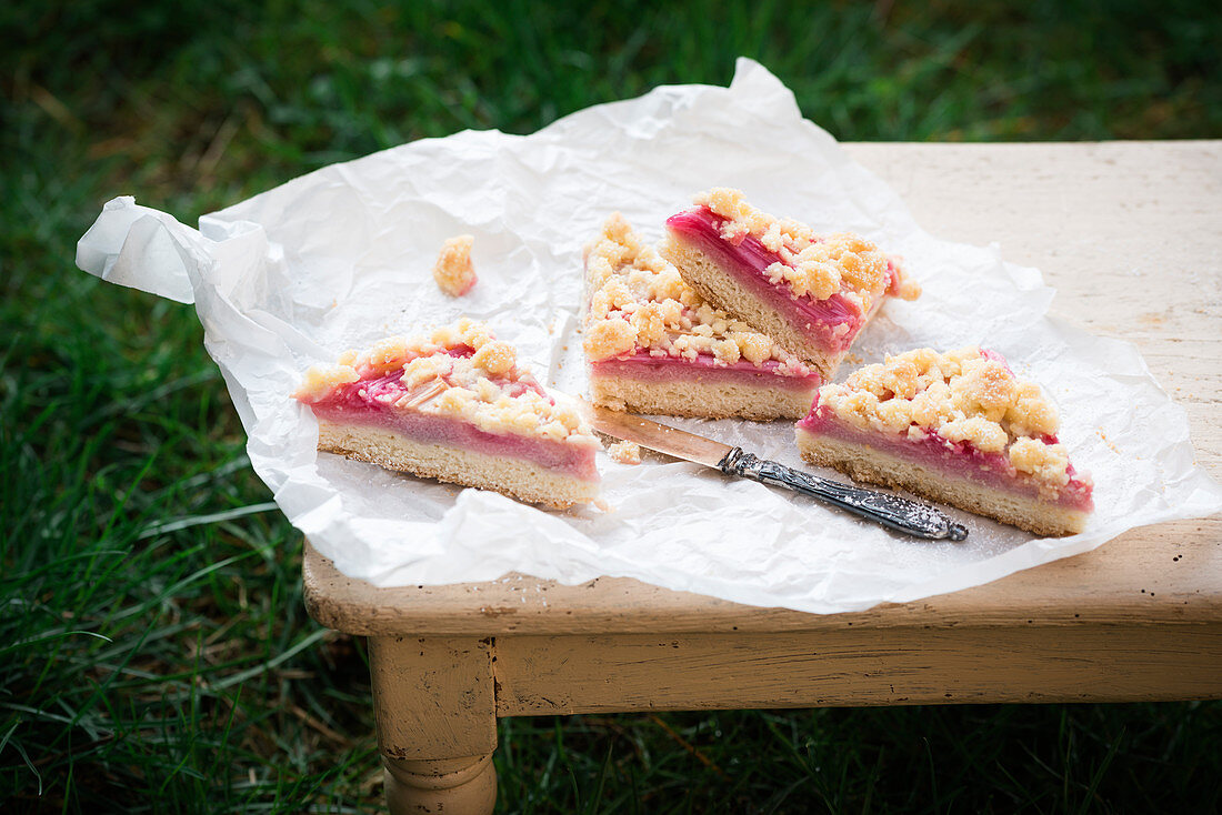 Vegan crumble cake with rhubarb and raspberry semolina cream