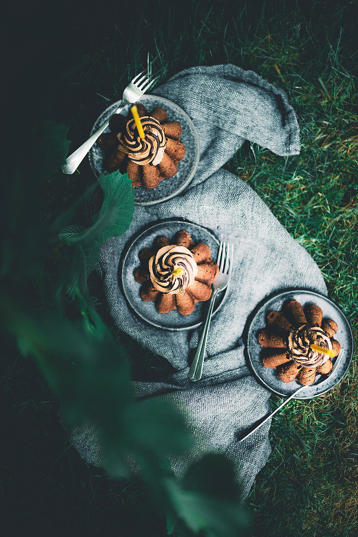 Three chocolate espresso cakes in a garden