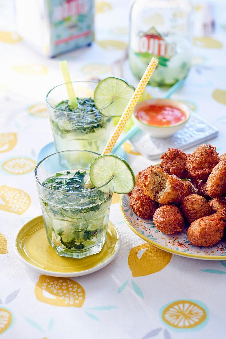 Mojito and acras de morue (stockfish balls, Caribbean)