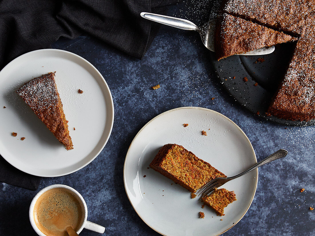 Flourless carrot cake and coffee