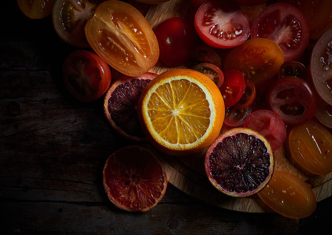 Tomatoes and citrus fruit