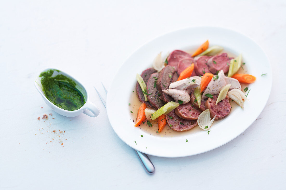 Bollito misto (meat stew with green sauce, Italy)