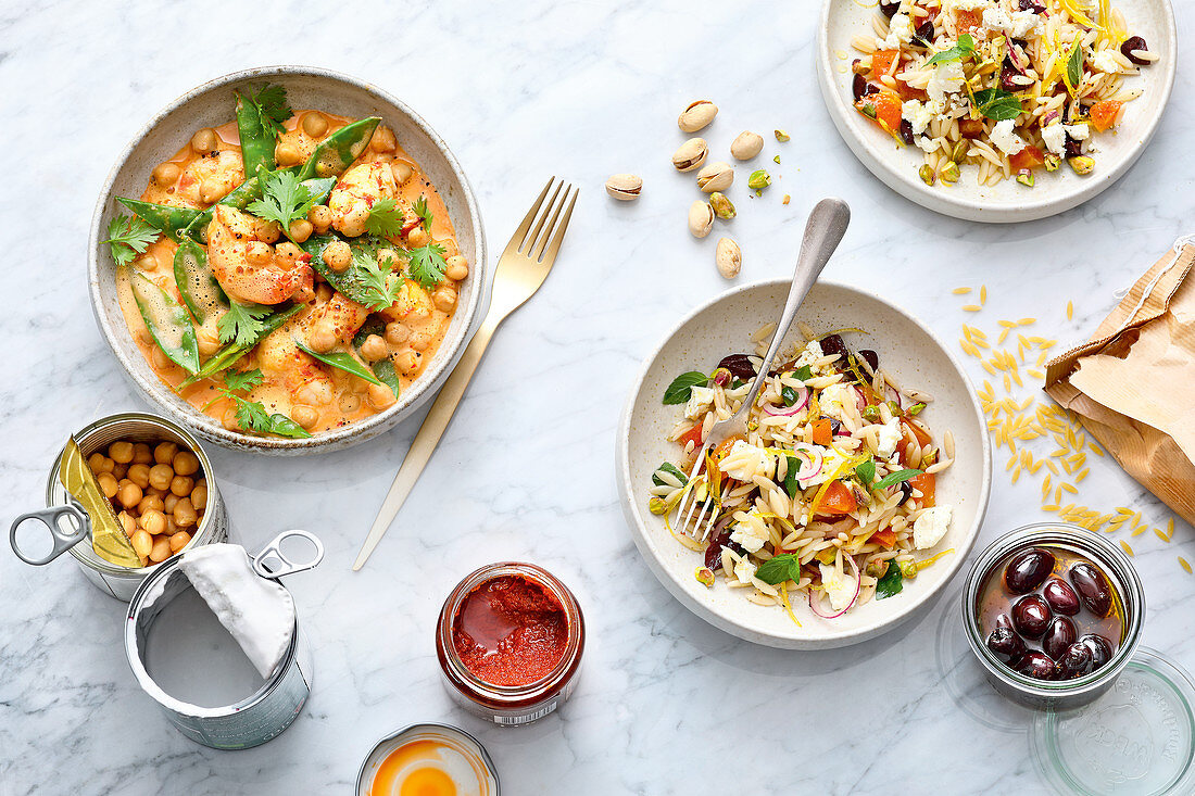 Rice noodle salad, and a chickpea curry with prawns