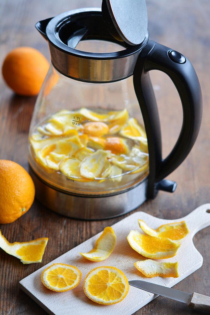 Orange peel in a kettle for descaling