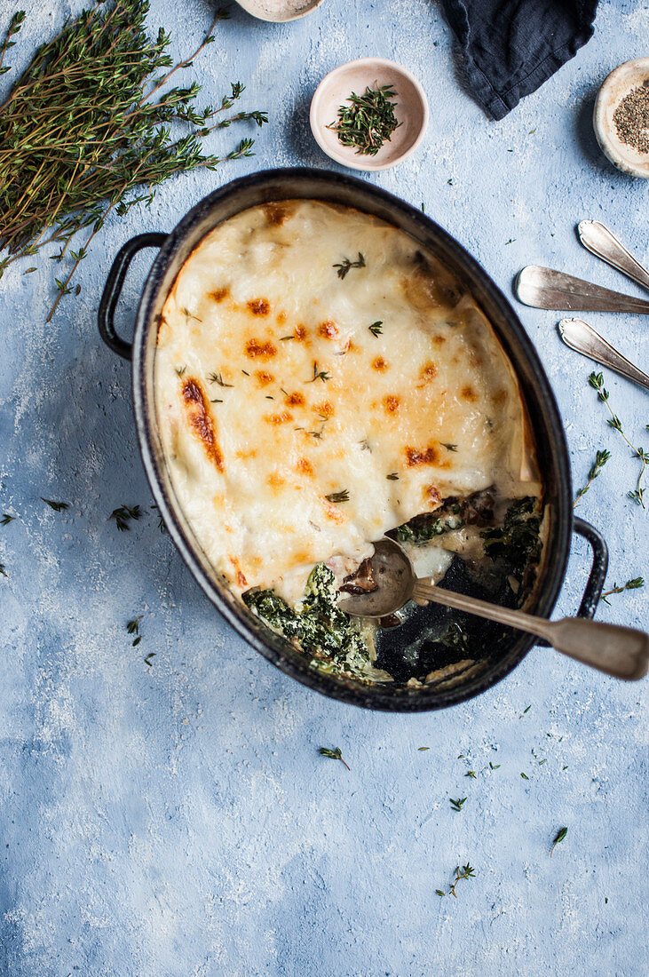 Lasagne with mushrooms and spinach