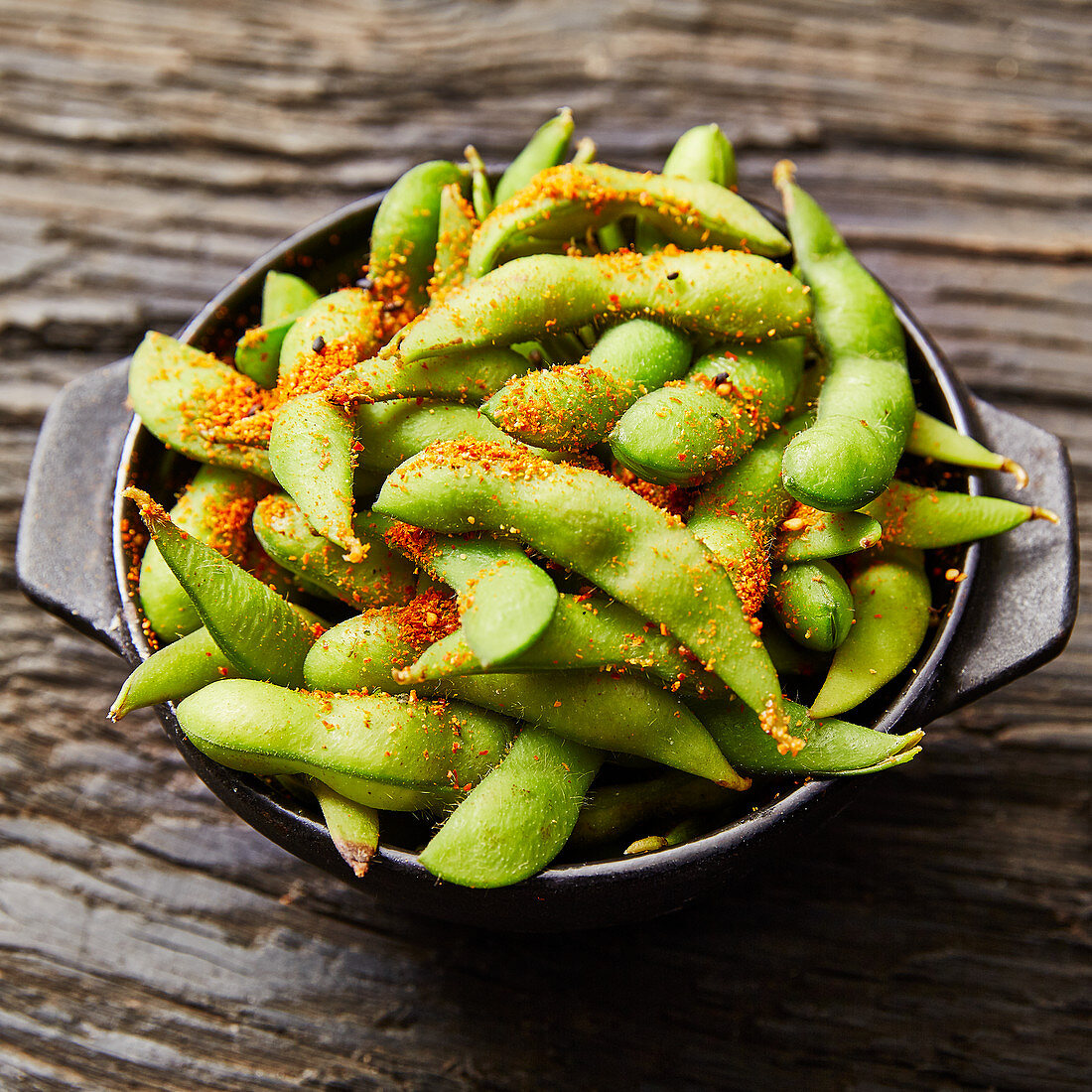 Edamame beans seasoned with chilli