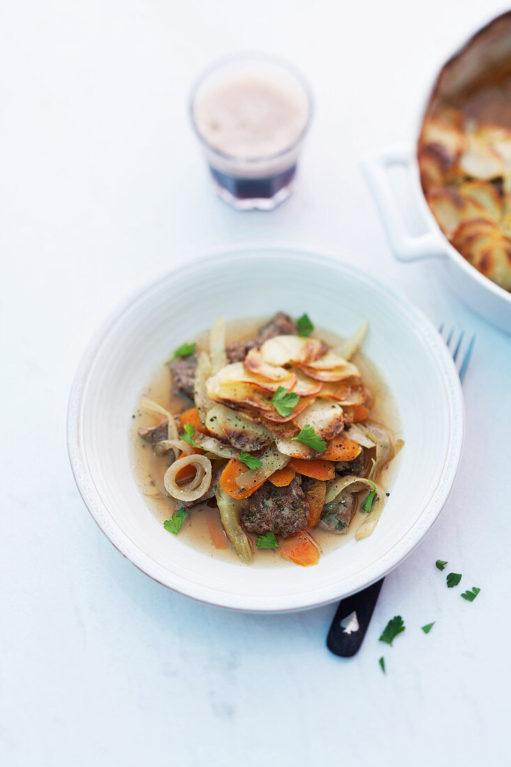 Irish stew with potatoes and lamb