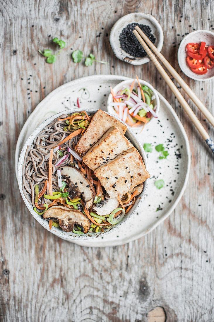 Miso soup with tofu, mushrooms and veggies